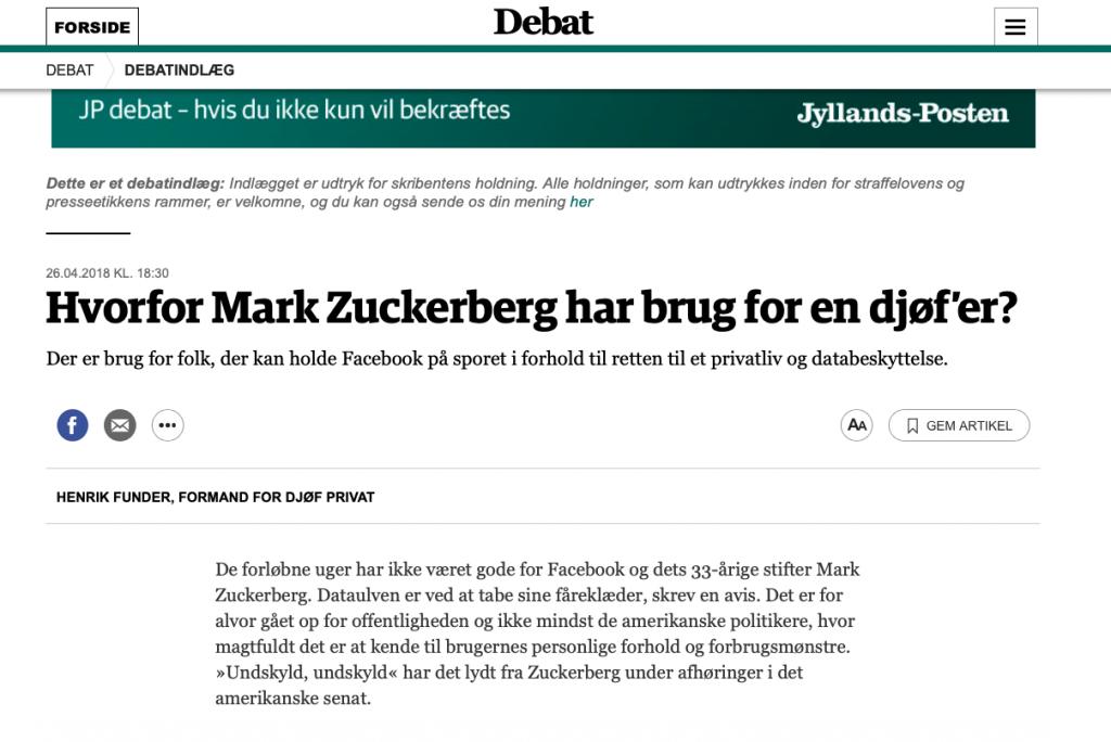 Jyllands-Posten, debatindlæg